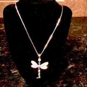 Crystal Rhinestone Dragonfly Necklace